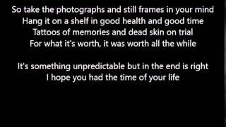 Green Day - Good Riddance (Time Of Your Life) - Scrolling Lyrics