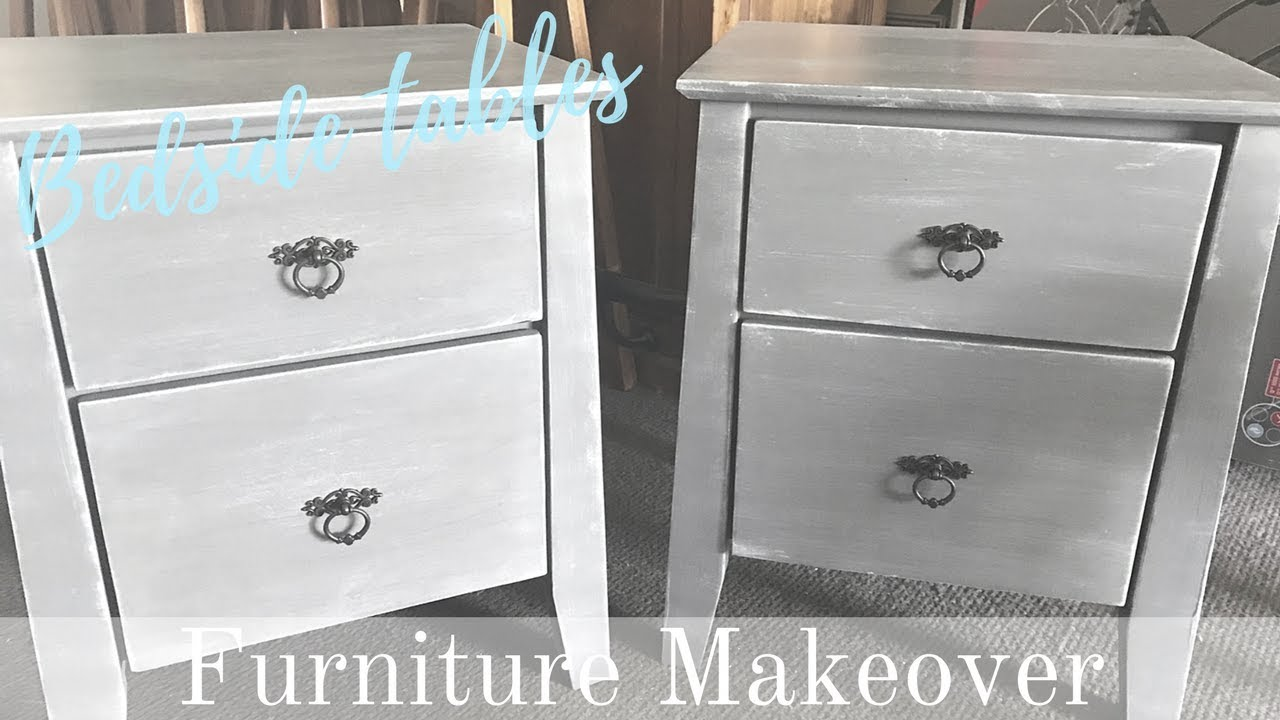 Furniture Makeover French Country Bedside Table Chalkpaint Dry Brush Technique