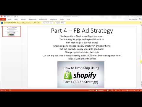 NEW NEW : Shopify Drop Shipping Tutorial -  Part 4 FB Ad Strategy 2017
