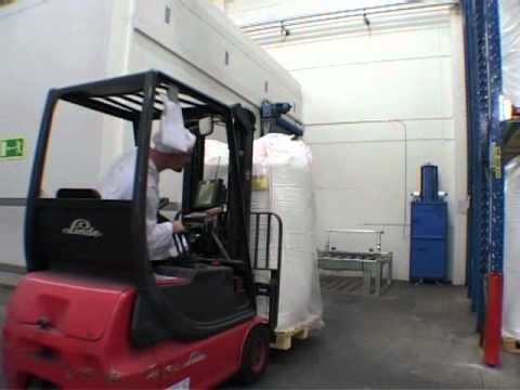 Mil-tek small footprint baler for paper sacks at a food industry, Arla Foods in Sweden