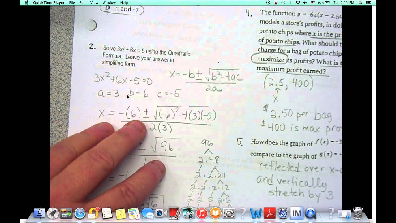 Unit 5 Quadratic Functions REVIEW