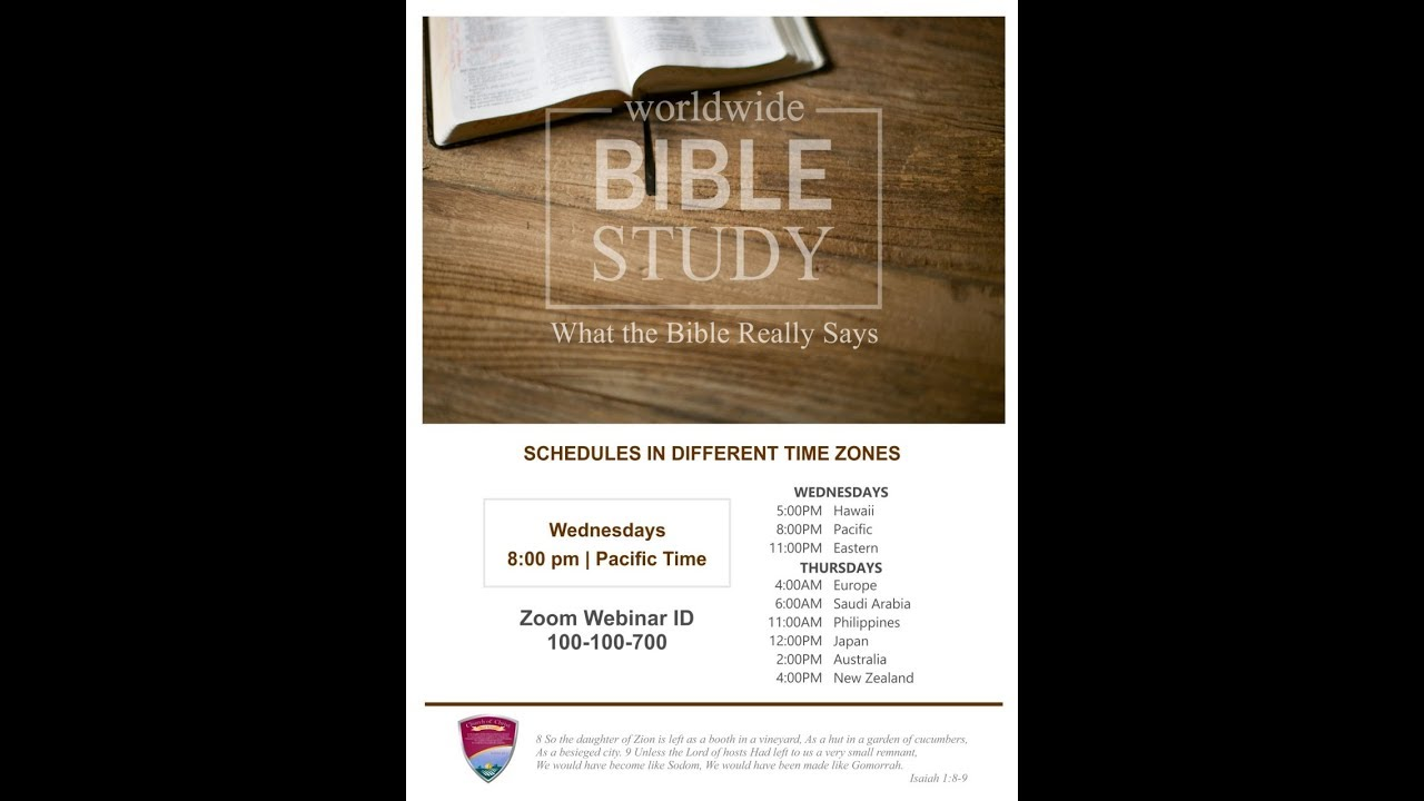 Worldwide Bible Study - March 21, 2019