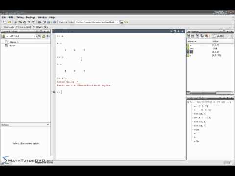Matlab   Sect 25   Calculating the Vector Dot Product and Cross Product