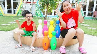 Kids play with bowling strike and toy blocks, Funny video for kids, 子供の歌&赤ちゃん童謡 Video