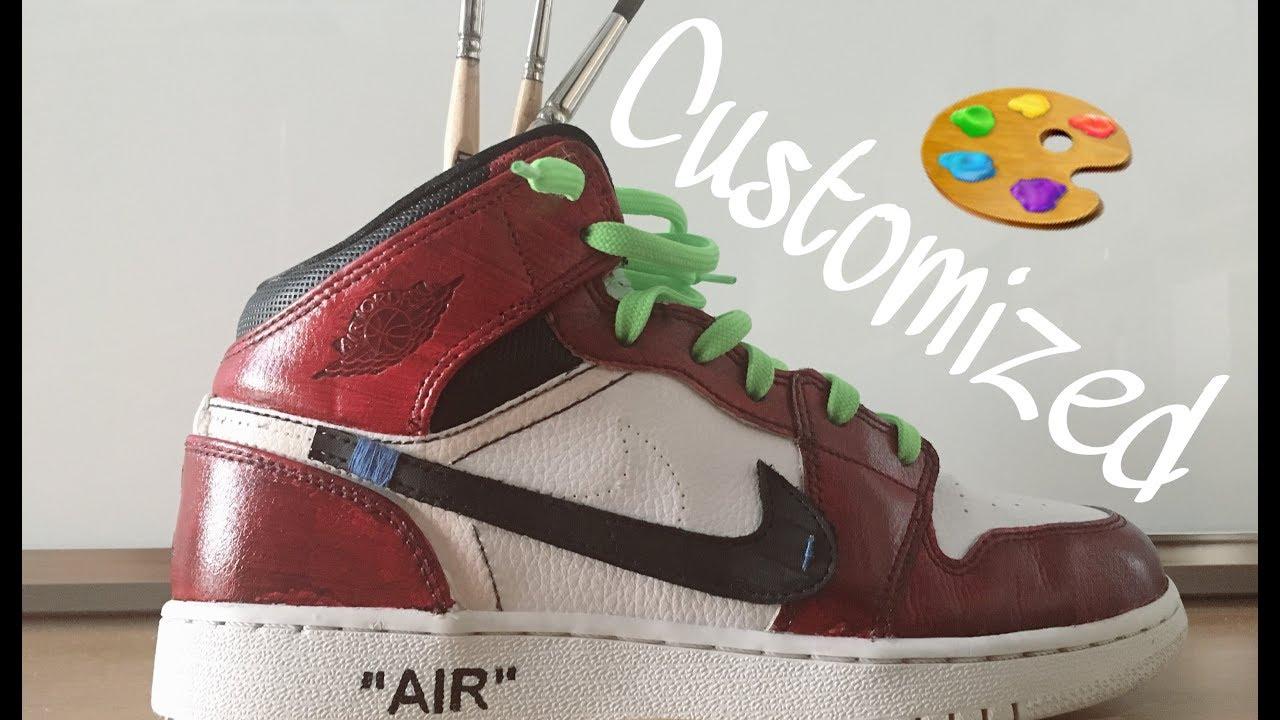 98a8163c44b Nike Jordan 1 Off-White custom tutorial - YouTube