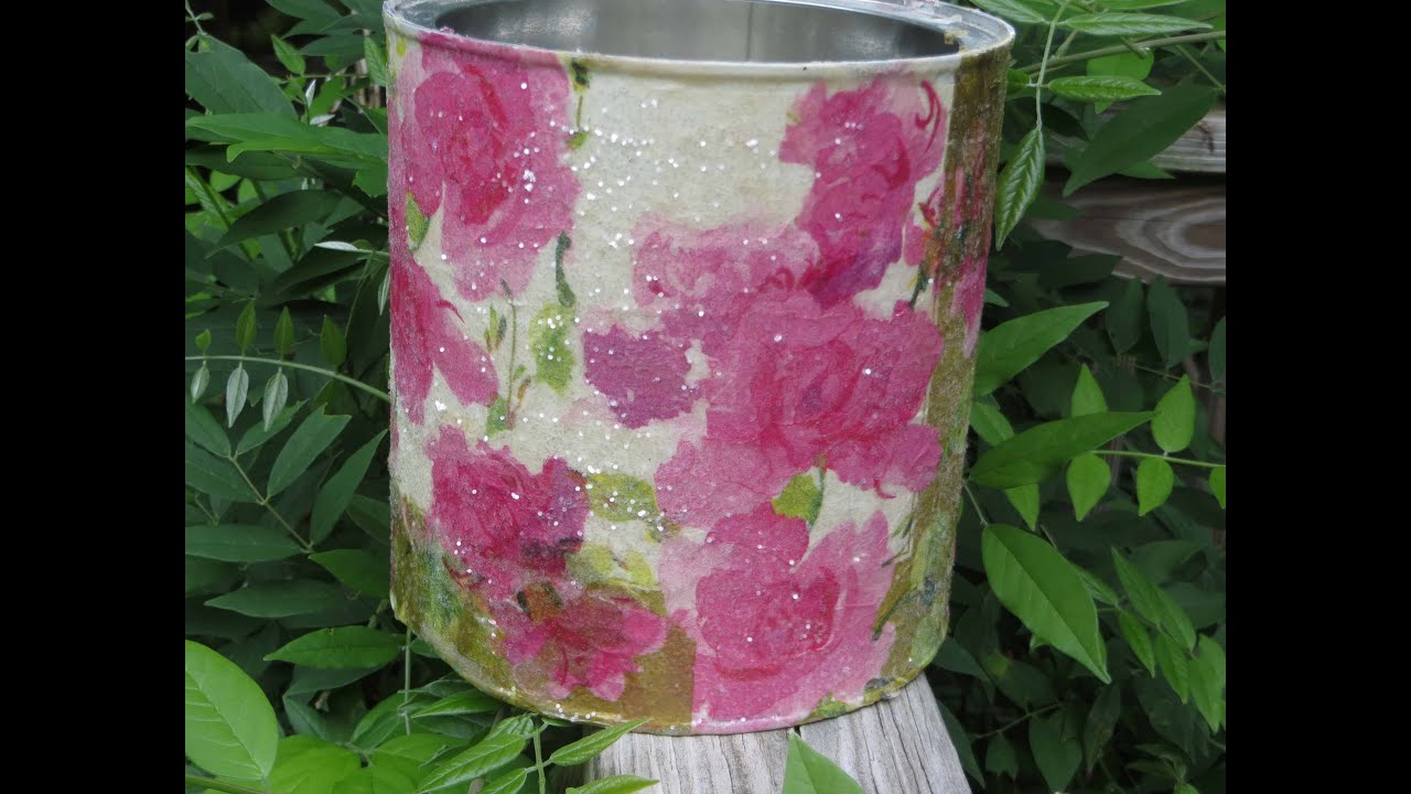 How to Decoupage a Coffee Can Recycle Cottage Chic Metal - YouTube