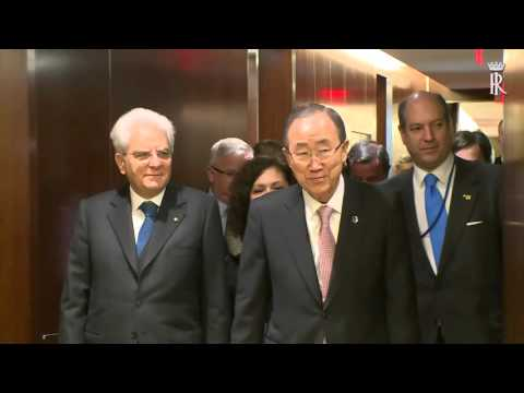 The President of Italy, Sergio Mattarella, at the United Nations