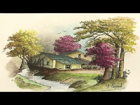 Draw Pen And Wash Watercolor Landscape the spring With Yasser Fayad