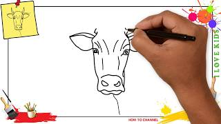 How to draw a cow face EASY & SLOWLY step by step for kids and beginners