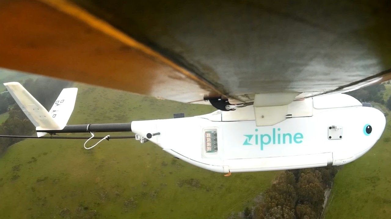 Zipline drones airdrop medical supplies to African villages - YouTube ...