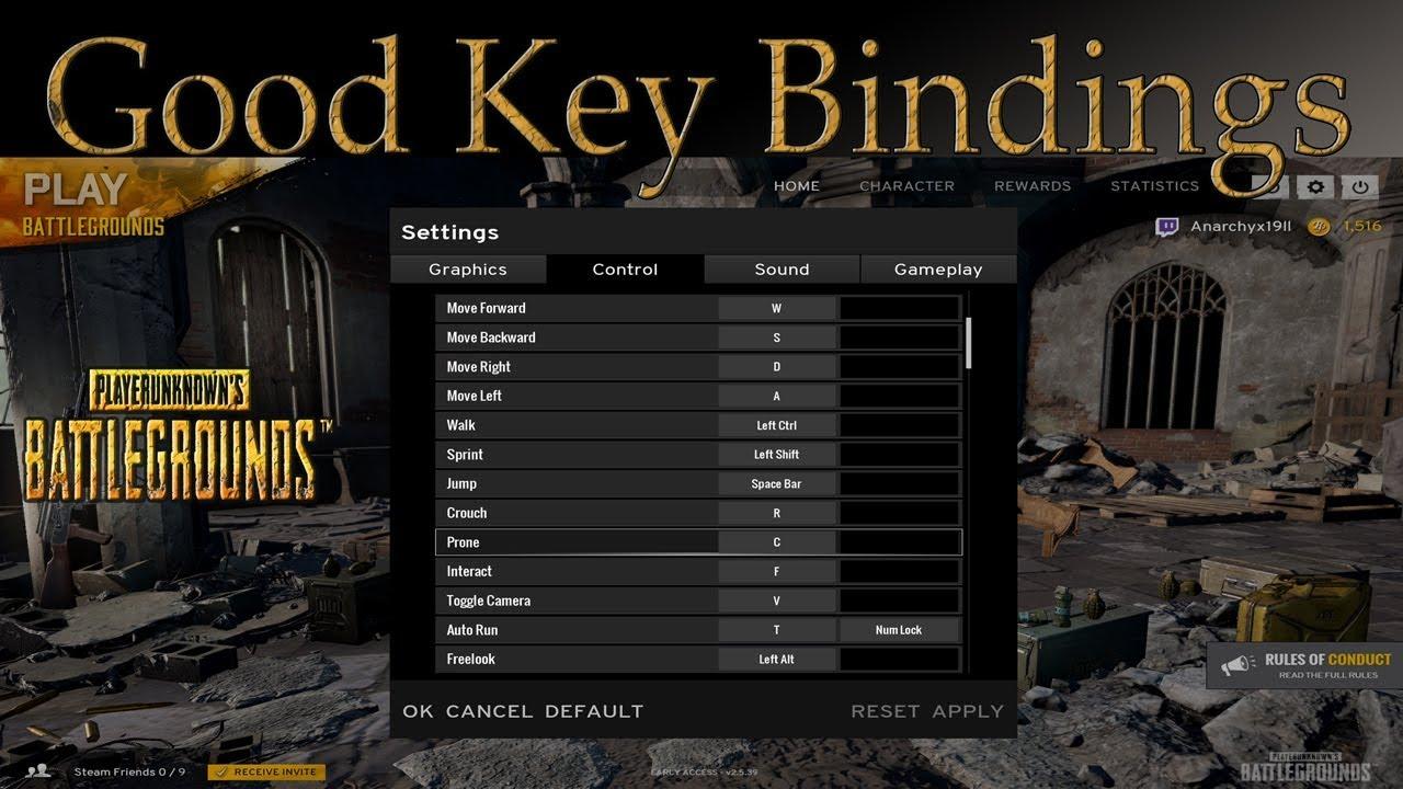 Key bindings for PUBG