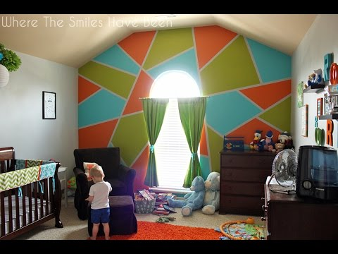 Time-Lapse Painting of Bright & Bold Accent Wall in a Boy's Room