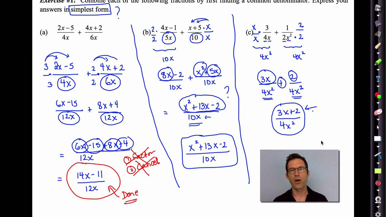 Common Core Algebra II Unit 10 Lesson 8 Adding and Subtracting Rational  Expressions V2