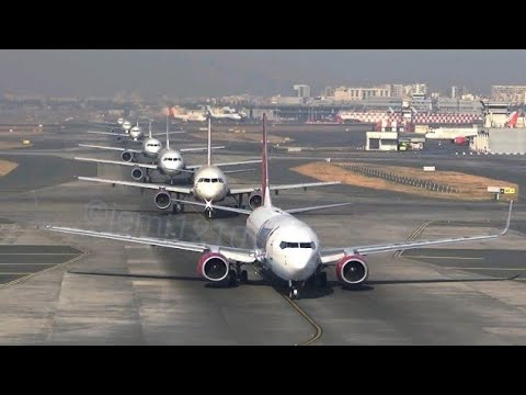 8 Planes take off in almost 8 minutes non stop at Mumbai International Airport