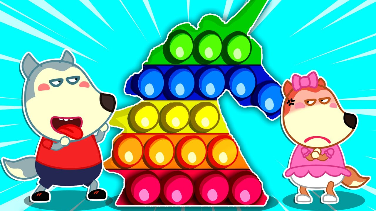 Wolfoo and Lucy Play Pop It Challenge and Learn to Share With Each Other - Wolfoo Kids Stories