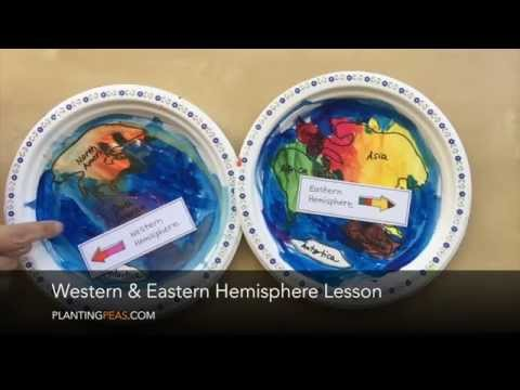 Western and Eastern Hemisphere Lesson - Paper plate and labels