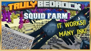 Truly Bedrock Season 1 EP25 Squid Farm! Many Ink! Minecraft Bedrock Edition SMP (MCPE, MCBE)