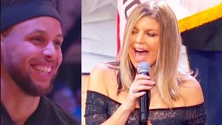 NBA PLAYERS & CELEBRITIES REACT TO FERGIE SINGING NATIONAL ANTHEM AT 2018 NBA ALL-STAR GAME