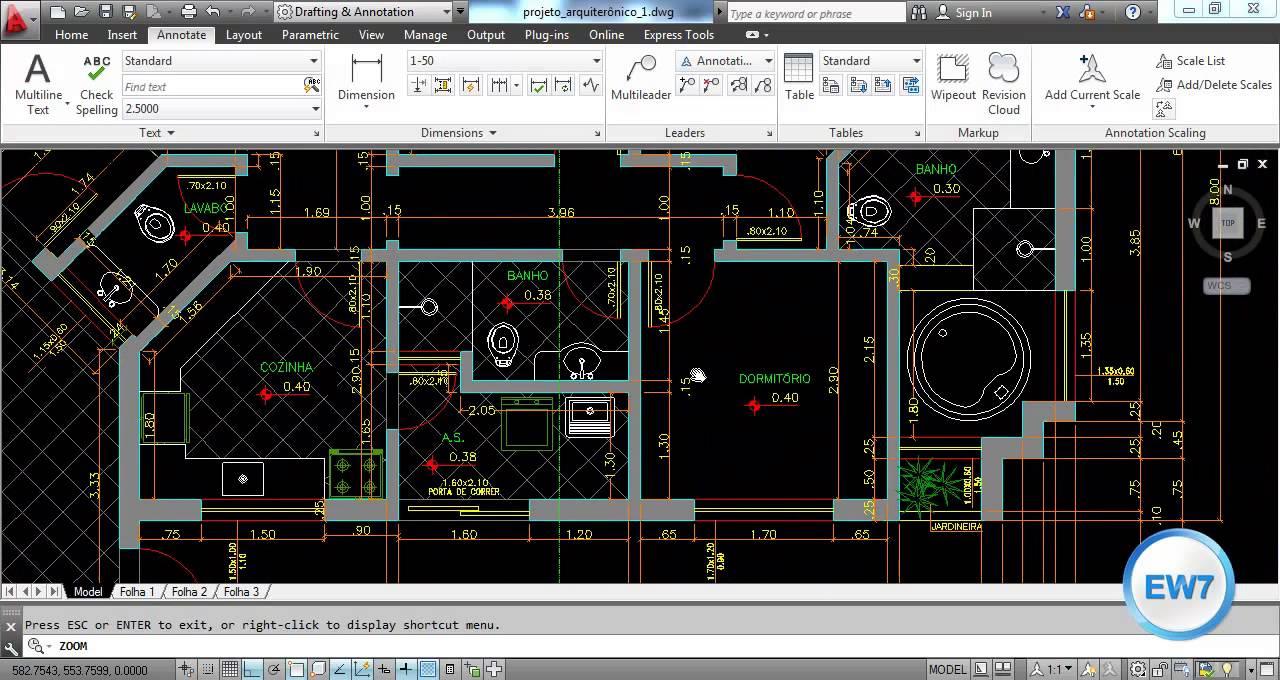 Exemplo de um projeto arquitetônico no Autocad