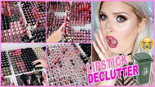 Repeat youtube video 1000+ Lipsticks! 🔪😱 ORGANIZE AND DECLUTTER MY MAKEUP COLLECTION! 😏