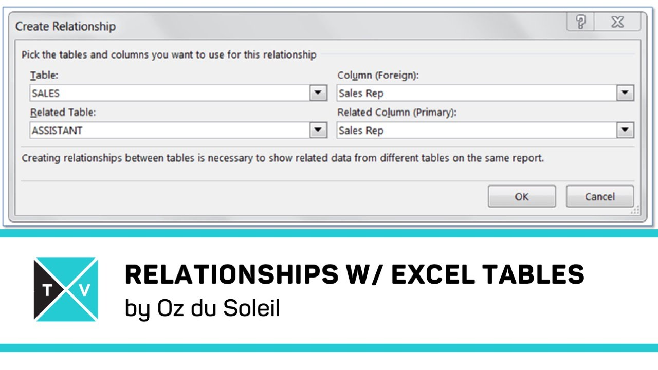 Relationships Between Linked Tables In Excel Excel Tv
