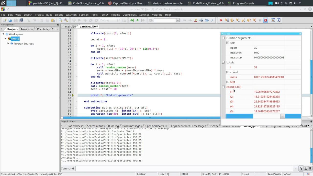 Debugging Fortran Code Using Code Blocks Ide Youtube