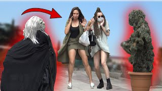 SCARY HALLOWEEN GHOST and BUSHMAN  PRANK  ??  - AWESOME REACTIONS