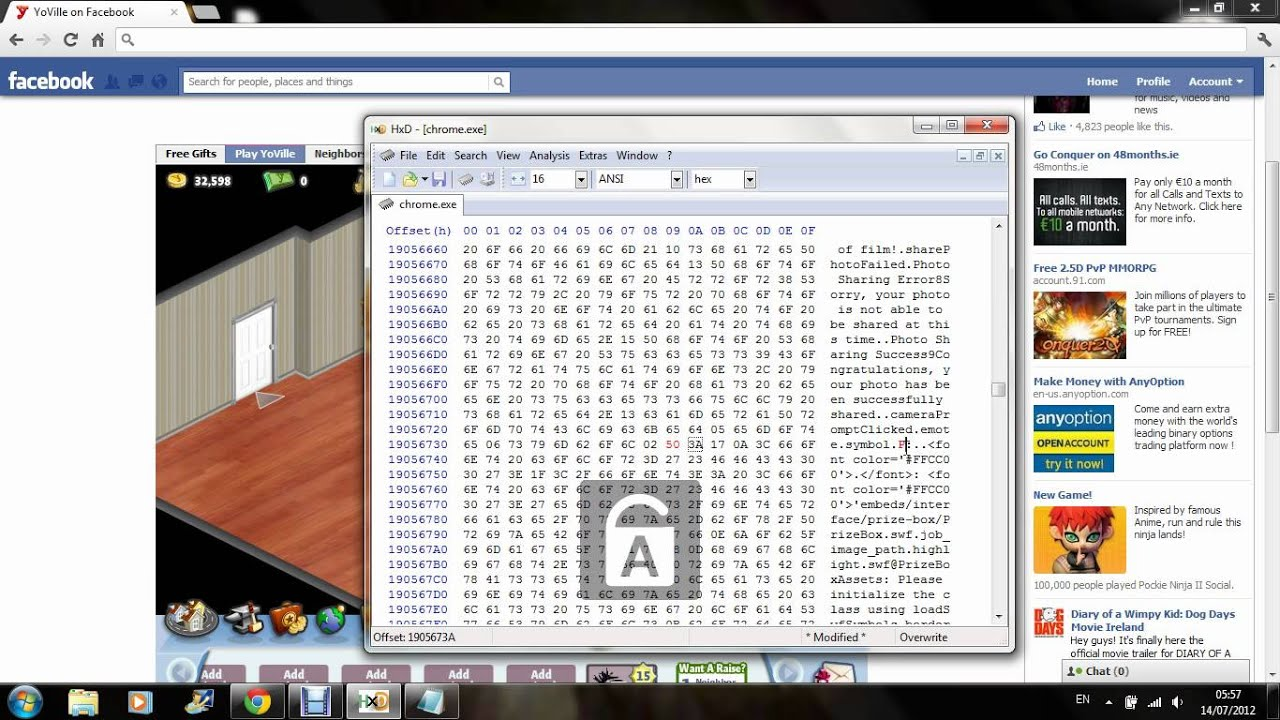 Yoville HxD how to make red text - YouTube