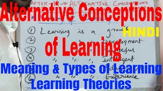 Alternative Conceptions of Learning|Meaning of Learning|Types of Learning|Learning Theories