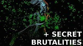 MK X  All Alien Brutalities performed on Predator + Secret Brutalities & Fatalities