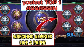 TOP 1 GLOBAL ASSASSIN SMURFING IN GRANDMASTER   WRECKING NEWBIES LIKE A PAPER   MOBILE LEGENDS