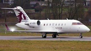 Bombardier Challenger 605 * Qatar Executive * Runway Change & Take-Off at Bern!