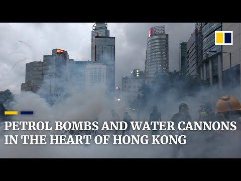 Petrol bombs and water cannons as Hong Kong descends into violence once again