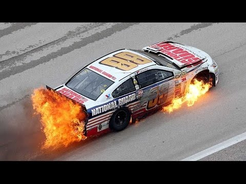 Nascar Dale Earnhardt Jr Hits Wall Car Catches Fire Youtube