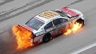 Repeat youtube video NASCAR | Dale Earnhardt Jr hits wall, car catches fire