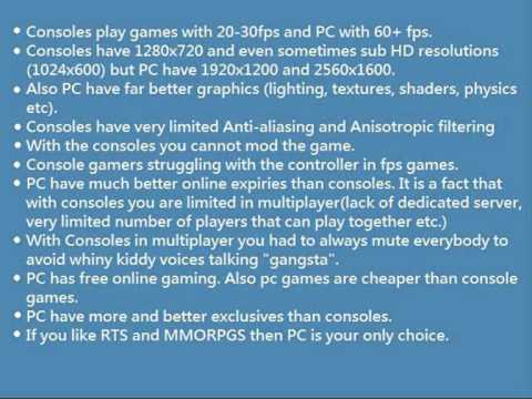 Facts about PC vs Consoles