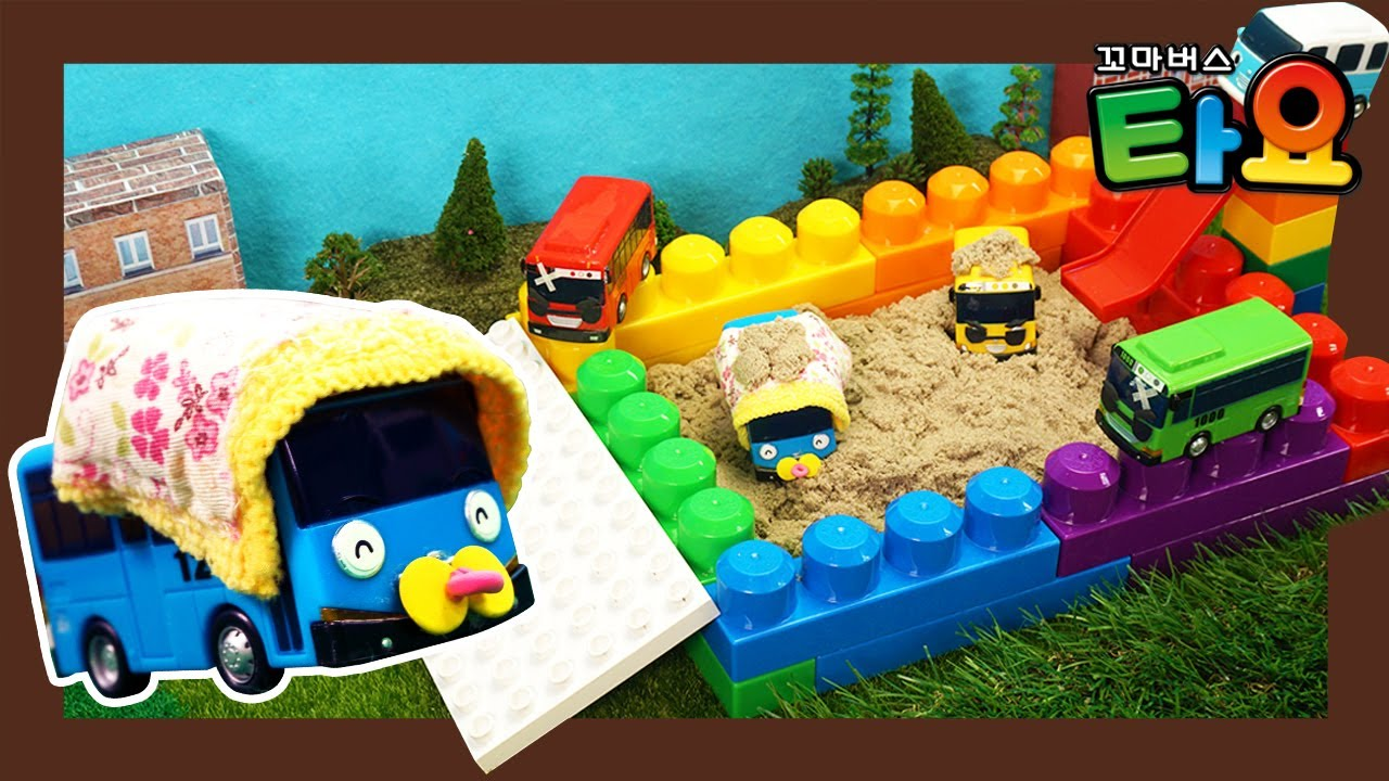 Learn Colors with Rainbow Kinetic Sand Playground l Heavy Vehicles Lego Play l Tayo the Little Bus