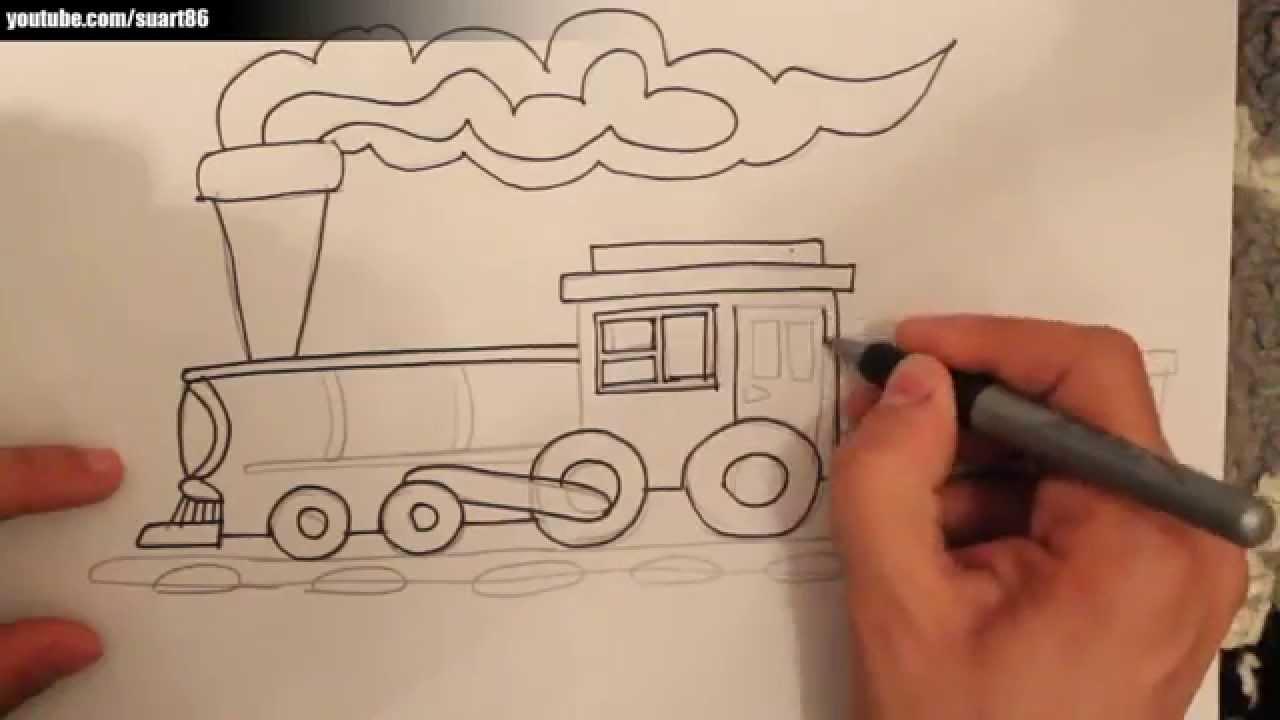 Como dibujar un tren paso a paso - YouTube