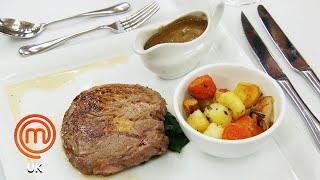 Pan-Fried Rib Eye Steak & Vanilla Panna Cotta   MasterChef UK   MasterChef World