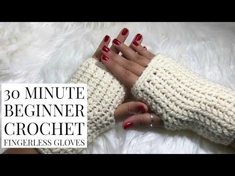 DIY 30 Minute Beginner Crochet Fingerless Gloves