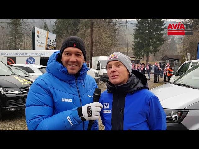 Andi Goldberger und Gregor Schlierenzauer in Wisla vor dem Einzelspringen im Weltcup