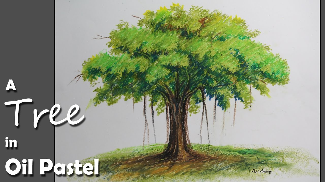 How to Paint A Banyan Tree in Oil Pastel - YouTube