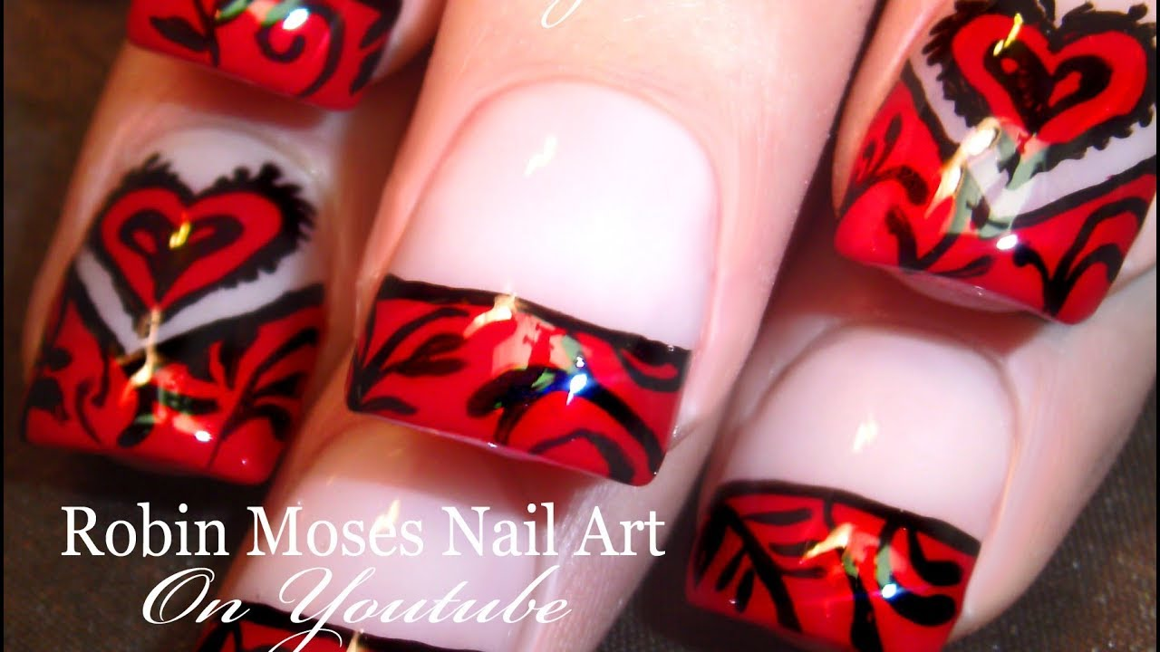 Easy Valentine Nail Art | Floating Hearts & Filigree ...