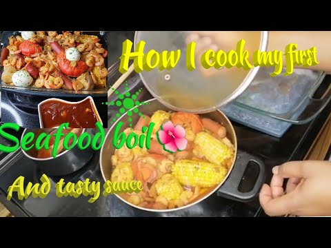 How I cook my first seafood boil & tasty sauce ❤️