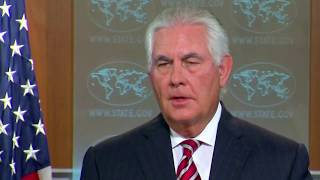 Rex Tillerson Press Briefing on Trump Flip Floping on his new afghanistan Strategy 8/22/2017