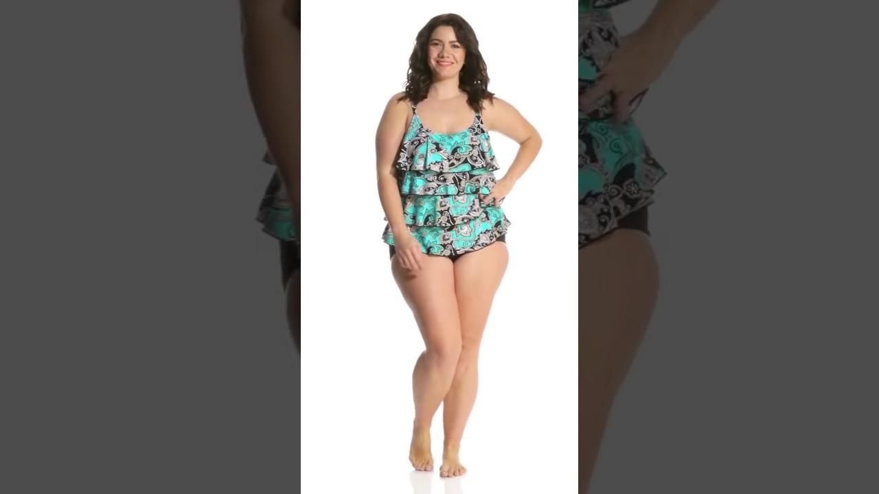 13dc9a00a7 Ceeb Plus Size Aqua Bandana Ruffle Tankini Top | SwimOutlet.com ...