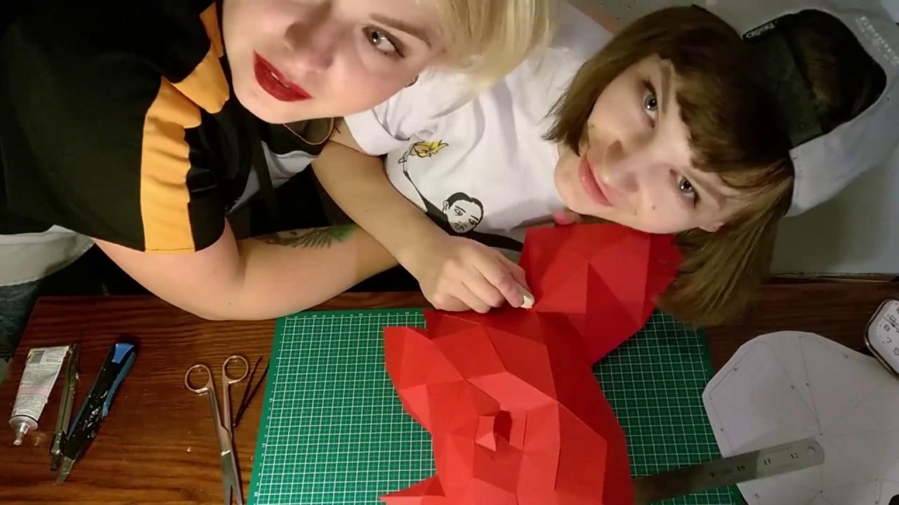 Papercraft Making of low poly papercraft rhino head