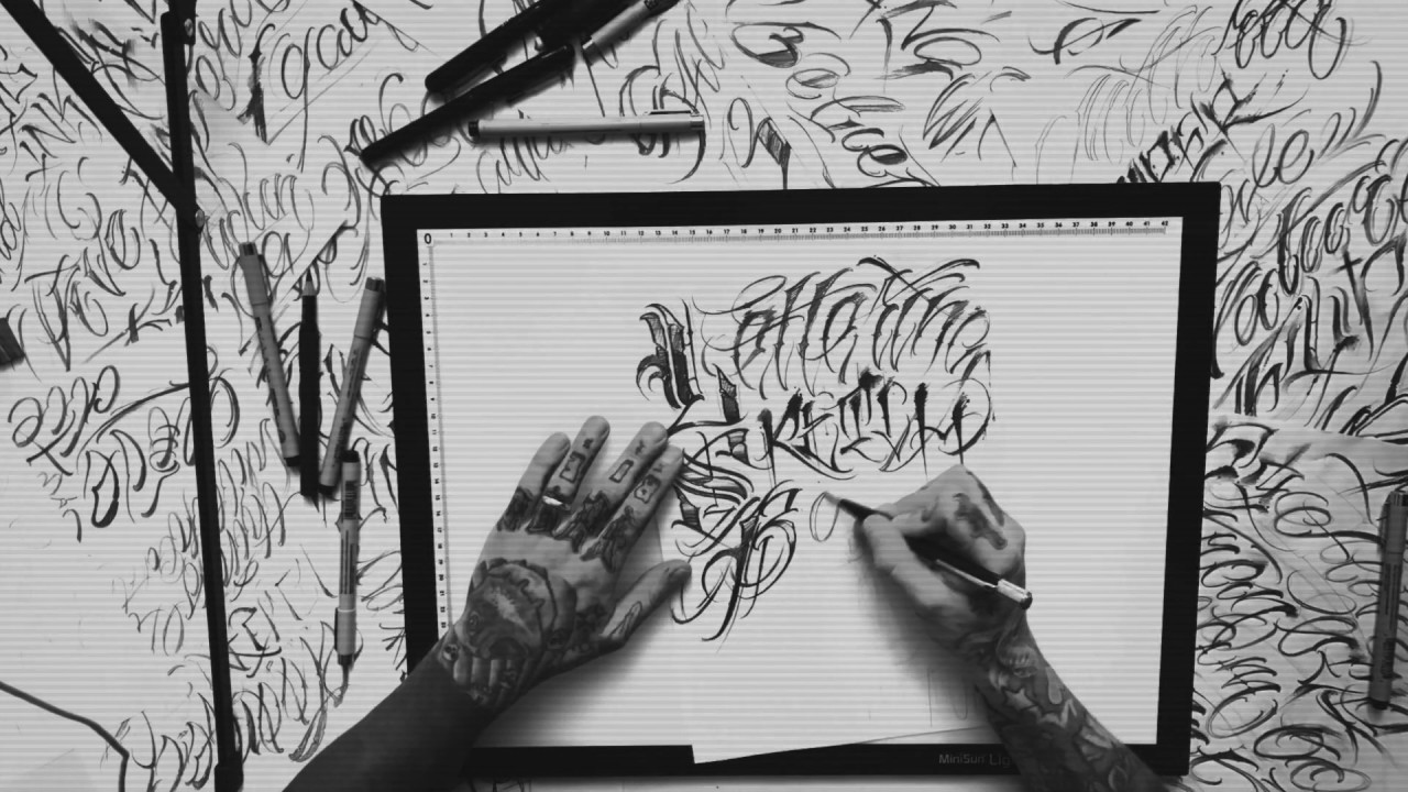 LETTERING TATTOO DESIGN TIME LAPSE YouTube