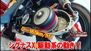 スクーターの駆動系の変速の様子!!4型シグナスX CVT 無段変速  シグナスX  勁戰 Cygnus-X ZUMA125 Partyup パーティーアップ