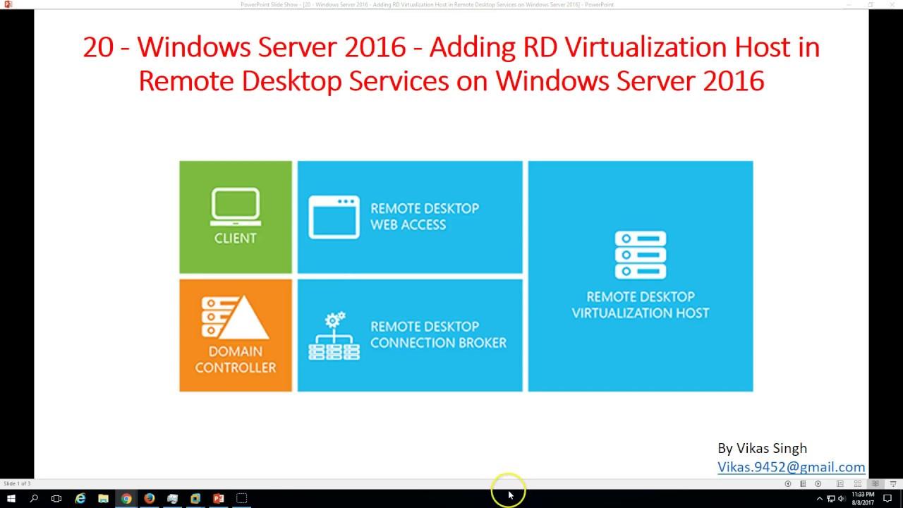 20 - Windows Server 2016 - Adding RD Virtualization Host in Remote Desktop  Services on Server 2016